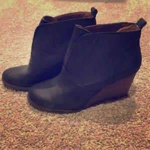 Lucky Brand Matte Black Leather Ankle Bootie